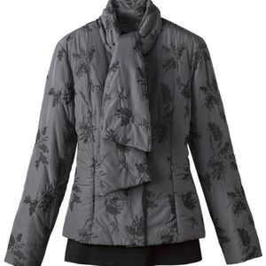Coldwater Creek Gray Quilted Jacket w/ Embroidery